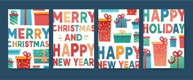 Designhälsningkort för glad jul Samlingsvykort för ferie för nytt år med gåvaasken och närvarande smattrande stock illustrationer