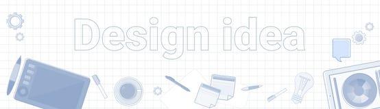 Designidéord på kvadrerat begrepp för produktion bakgrundsför horisontalbaner grafiskt stock illustrationer