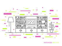 Designillustration des modernen Designerwohnzimmerinnenraums Stockfotos