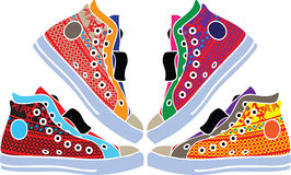 designillustrationen shoes sporten Royaltyfri Foto