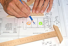 Designing. Initial preparatory stage in construction new building royalty free stock photos