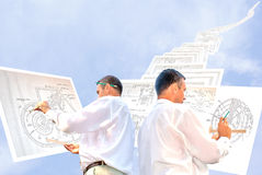 Designing. Collective engineer-designing resolve compound architectural problem royalty free stock photos