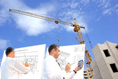 Designing. Serious engineer-designing resolve compound architectural problem stock images