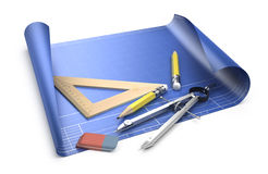 Designing concept. Blueprint and drawing tools  on white Stock Photos
