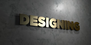 Designing - Gold text on black background - 3D rendered royalty free stock picture. This image can be used for an online website banner ad or a print postcard Royalty Free Stock Photos