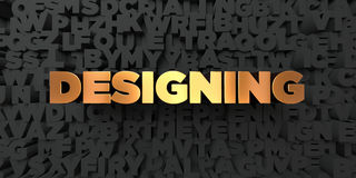 Designing - Gold text on black background - 3D rendered royalty free stock picture Royalty Free Stock Image