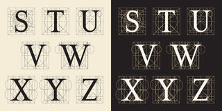 Designing Initials, vintage style, letters S - Z. Royalty Free Stock Image