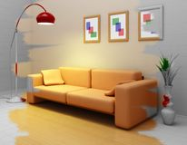 Designing the interior. Concept of the designing the interior in 3d Royalty Free Stock Photography