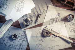 Designing mechanical parts by engineer. In classroom royalty free stock photo