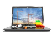 Designing of project. Draws and laptop. Concept, 3d render. Designing of project. Draws and laptop. Concept Royalty Free Stock Photos