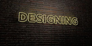 DESIGNING -Realistic Neon Sign on Brick Wall background - 3D rendered royalty free stock image Royalty Free Stock Photos