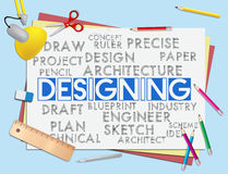 Designing Words Shows Concept Designed And Artwork. Designing Words Indicating Graphic Designer And Designs Stock Images