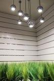 Designinre med lampan och gräs Arkivfoto