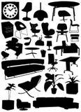 designinteriorobjekt stock illustrationer