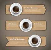 Designkaffebaner med en kopp kaffe vektor illustrationer