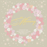 Designkarte mit süßem Rosen-Kranz im Gedächtnis Stockfoto