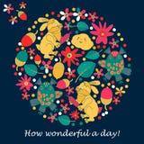 Designkarten für Einladungen oder Grüße Kaninchen, Eule, Blatt Blume Kritzeln Sie Art Lizenzfreies Stockfoto