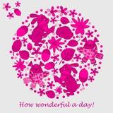 Designkarten für Einladungen oder Grüße Kaninchen, Eule, Blatt Blume Kritzeln Sie Art Stockbild