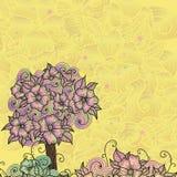 Designkort med klotterblommor Arkivbilder