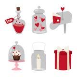 Designliebeshochzeitseinzelteile und -herz des glücklichen Valentinstags lieben flache Romanze Feiervektorillustration vektor abbildung