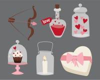 Designliebeshochzeitseinzelteile und -herz des glücklichen Valentinstags lieben flache Romanze Feiervektorillustration stock abbildung