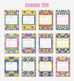 Designmall för kalender 2018 Fotografering för Bildbyråer