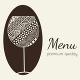 Designmall för meny med en vinglas Royaltyfria Foton