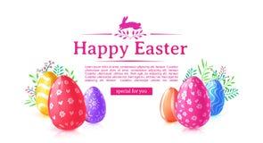 Designmallbaner för lycklig påsk Färgad ägg och blomma för affisch garnering Horisontalkort med logo royaltyfri illustrationer