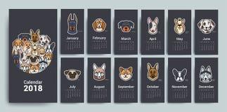 Designmallkalender 2018 stock illustrationer