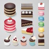 Designnachtischbäckerei-Vektorsatz der Kuchen flacher Stockfotos