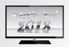 Designontario-Fernsehschirm mit 2018 silberner Chromzahlen Guten Rutsch ins Neue Jahr Fernsehfahne mit 2018 Zahlen auf Gray Backg Stock Abbildung
