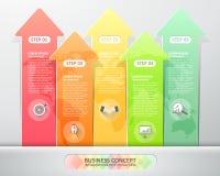 Designpfeile infographics 5 Schritte Auch im corel abgehobenen Betrag Stockfoto