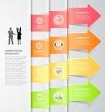 Designpfeile infographics 4 Schritte Auch im corel abgehobenen Betrag Lizenzfreies Stockfoto