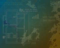 Designprojekt av uppvärmning Blått tryck för HVAC-baner Skissa av tekniska teckningar Arkivfoto
