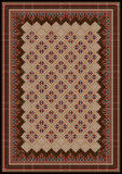 Designram med narrdräktprydnader i brun och röd shadesför matta Arkivbild