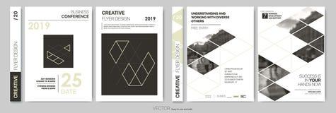 Designreklamblad Minimalistic abstrakt begreppmallar - materiel stock illustrationer