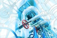 Designrörledningar för dator CAD för moderna industriella maktplommoner Royaltyfri Bild