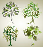 Designs with decorative tree from leafs Royalty Free Stock Photos