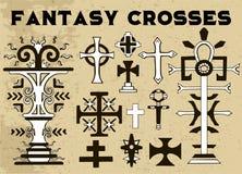 Designsamling med svartvita kors för fantasi på textur royaltyfri illustrationer