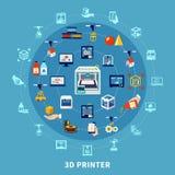 designsammansättning för printing 3d royaltyfri illustrationer