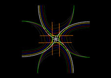 Designsammansättning med kulöra slaglängder på en svart bakgrund Arkivfoto