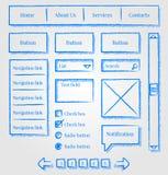 designsatsen skissar stilwebsite Arkivbilder