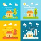 Designsatz des Hauses mit 4 Jahreszeiten flacher Stockfotos
