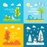 Designsatz des Parks mit 4 Jahreszeiten flacher Stockbilder