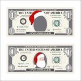 Designschablone ein Dollarschein mit Santa Claus Lizenzfreies Stockbild