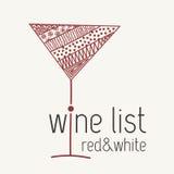 Designschablone für Menü mit einem Weinglas Lizenzfreies Stockbild