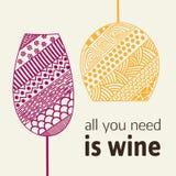 Designschablone für Menü mit einem Weinglas Stockbild