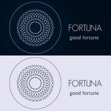 Designschablonen in den blauen und grauen Farben Kreatives Mandalalogo, Ikone, Emblem, Symbol Stockfotos