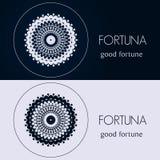 Designschablonen in den blauen und grauen Farben Kreatives Mandalalogo, Ikone, Emblem, Symbol Stockbild