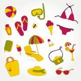 Designsommer-Strandeinzelteile stellten Illustrationsvektor ein Lizenzfreie Stockfotos